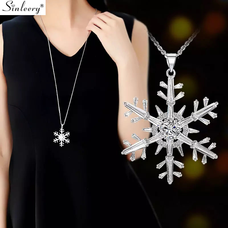 Charm Crystal Zircon Snowflake Pendant Necklace for Women Accessory C