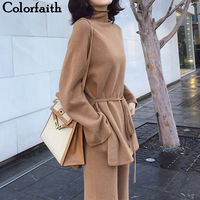 Colorfaith 2019 New Autumn Winter Woman Sets Two Piece Set Pullovers Pants Lounge Wear Sashes Knitting Minimalist Style WS643