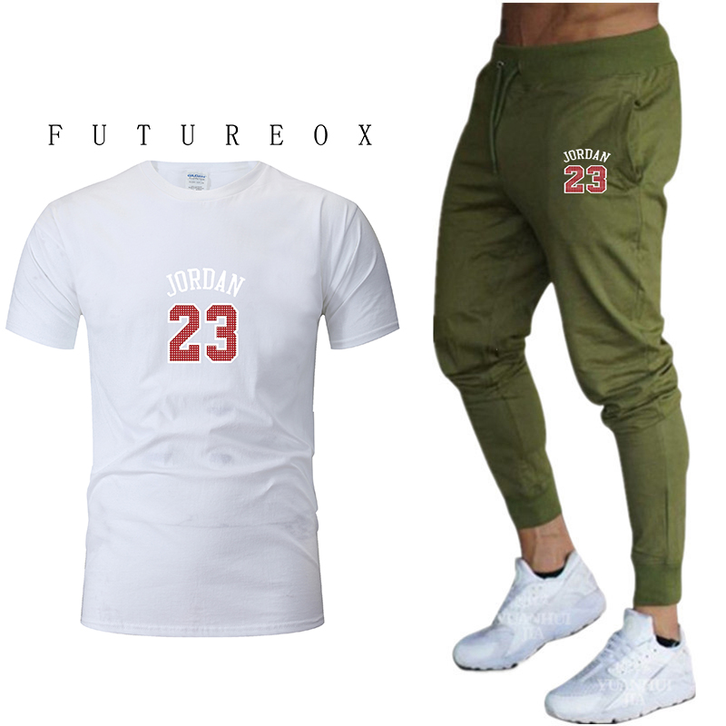 2020 New Brand Clothing Men's T-shirt Cotton Two-piece Suit + 9 Points Pants Sweatshirt Spring And Summer Track And Field Clothi