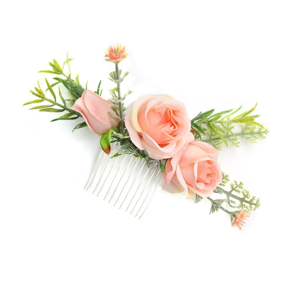 Women Hair Headdress Comb Clips Wedding Hair Accessories Bridal Headdress Rose Artificial Simulation Flower FS97