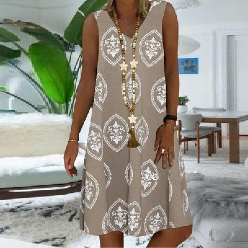 S-5XL Plus Size Women Dress 2020 New Bohemian Beach Casual Sleeveless Summer Dress Fashion Printed V Neck Vest A Line Dresses