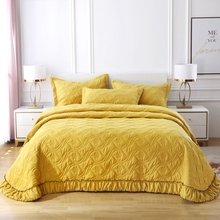 Yellow Gray Purple Blue Green 100 Cotton Solid Color Quilted Ruffle Bedspread Coverlet Bed Cover Set