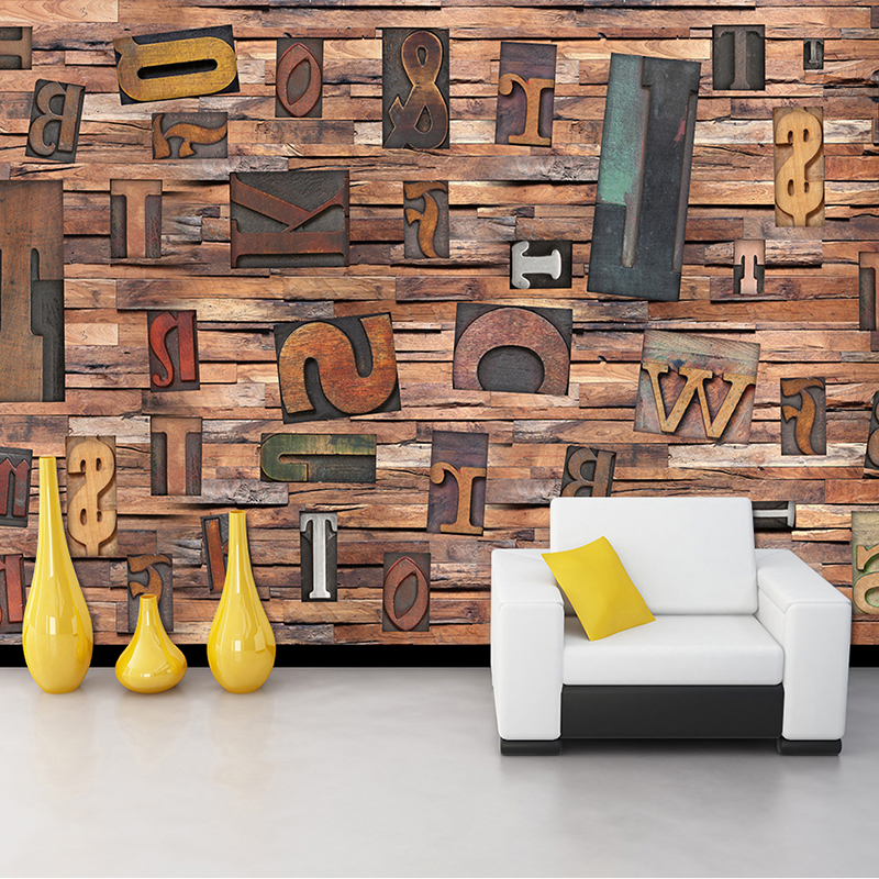 Dropship Photo Wallpaper 3D Stereo English Letter Wood Fiber Mural  Clubs Bar Modern Simple Interior Home Decor Papel De Parede