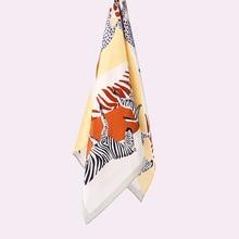 Zebra Print 100% Silk Scarf Wraps Neckerchief for Women Ladi