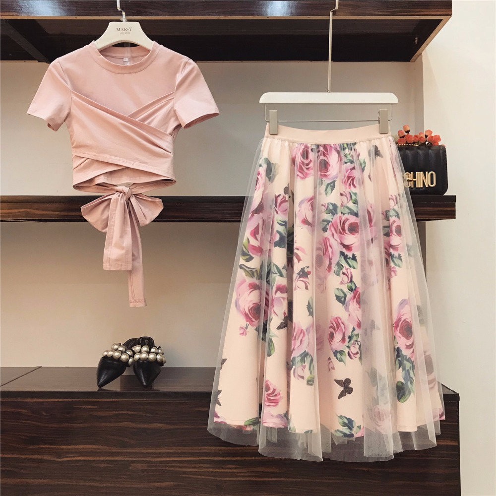 Women Two Piece Outfits 2019  Pink Irregular T Shirt+Mesh Printed Skirts Suits Bowknot Solid Tops Vintage Floral Skirt Sets