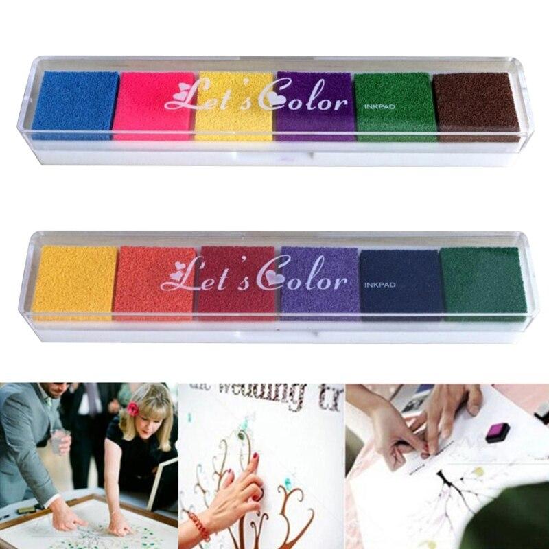 2pcs Non Toxic Ink Pads Fingerprint Ink Inkpad DIY Crafts 6 Colors Digital Printing Scrapbooking Stamps for Kids Children 20CB