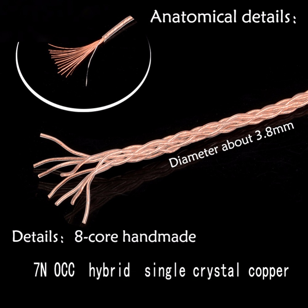 Haldane-8-Cores-7N-OCC-Single-Crystal-Copper-Upgrade-Cable-3-5mm-Stereo-Male-to-4pin