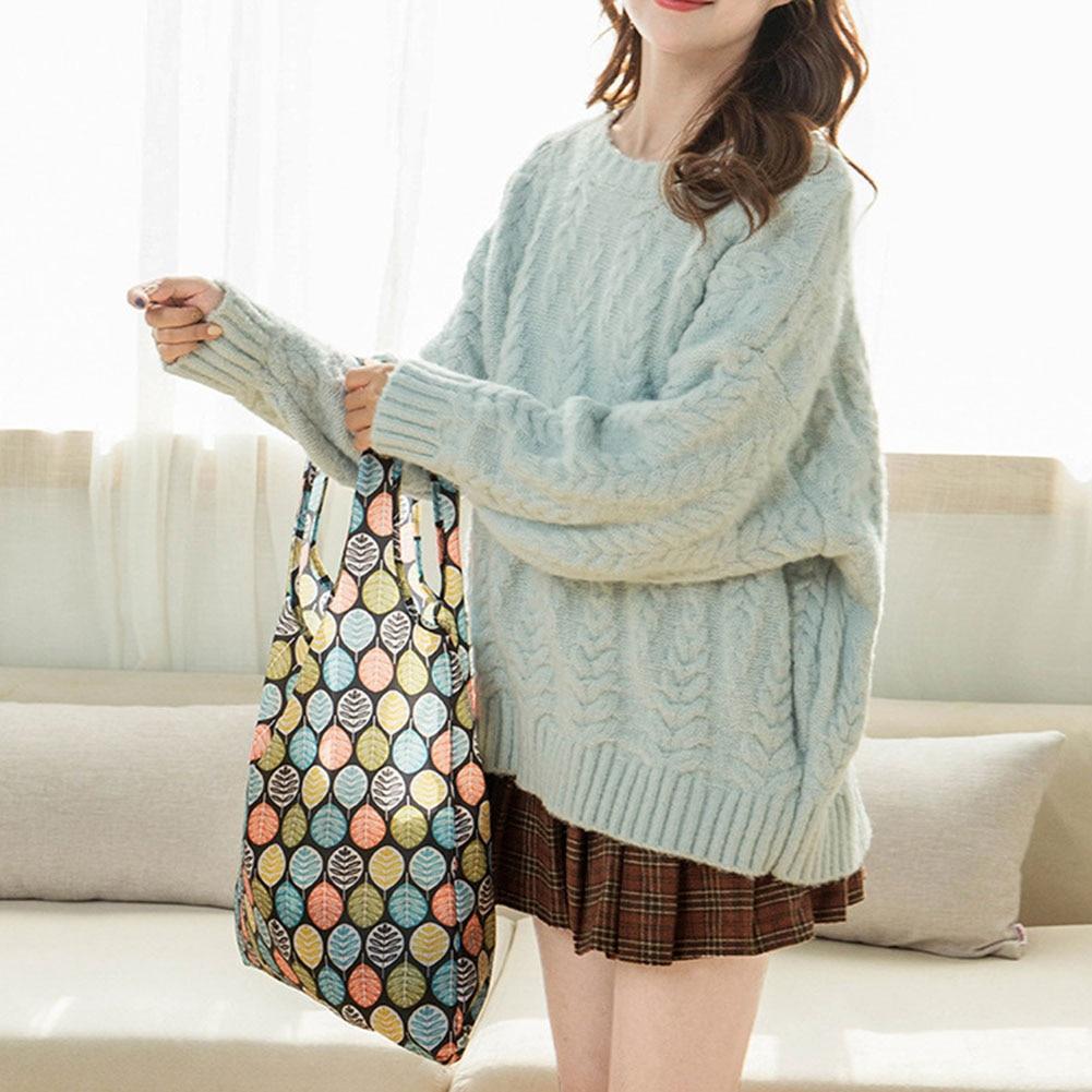 Women Flower Foldable Shopping Bag Reusable Nylon Eco Tote Grocery Bag J9