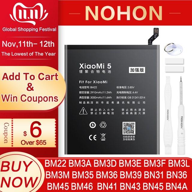 NOHON BN43 BN41 BM46 BM22 BN31 BM3L BM39 BM36 סוללה לxiaomi Mi 4C 5 5S 5X 6 8 לייט פרו 9 SE CC9 Redmi הערה 2 3 7 פרו 4 4X 5