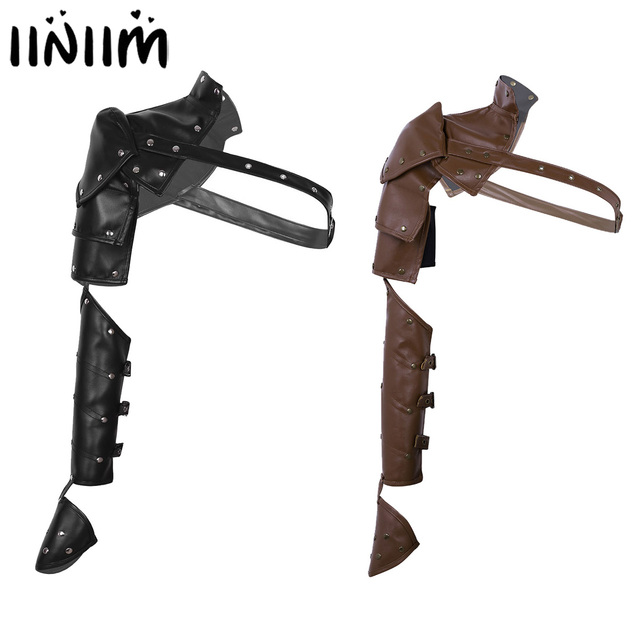 Unisex Gothic Steampunk PU Single Shoulder Armors Arm Strap Set Adjustable Metal Rivets Shoulder Strap Cosplay Costume Accessory