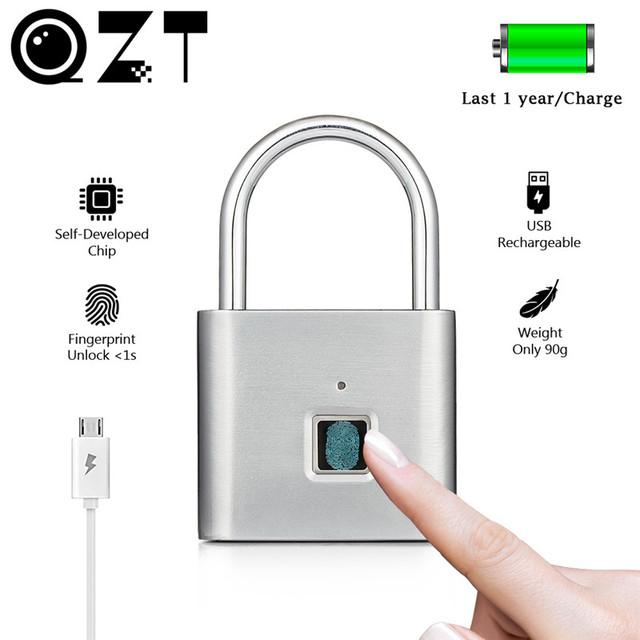 Qzt electric fingerprint lock biometric smart home door lock usb charging digital security door lock small fingerprint padlock 1