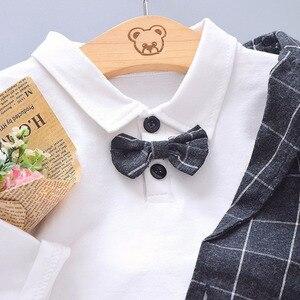 Image 5 - Çocuk kravat Blazer resmi pamuk beyefendi rahat giyim bahar sonbahar bebek erkek kız ceket T Shirt pantolon 3 adet/takım bebek seti