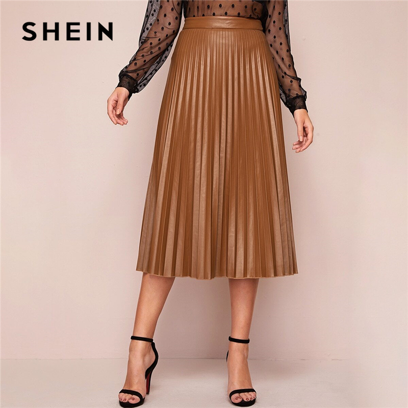 SHEIN Camel Solid Pleated Elegant Leather Skirt Women Bottoms 2020 Spring High Waist Streetwear Zipper Ladies Midi Skirts