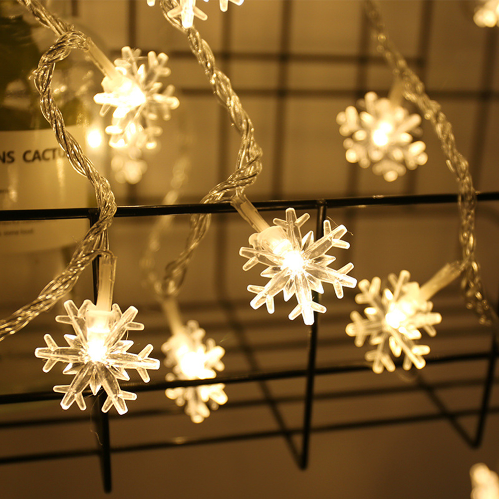 20/40/80 LED String Fairy Lights Garland Holiday Snowflakes String Lights Battery Powered Ornaments Christmas Tree Home Decor