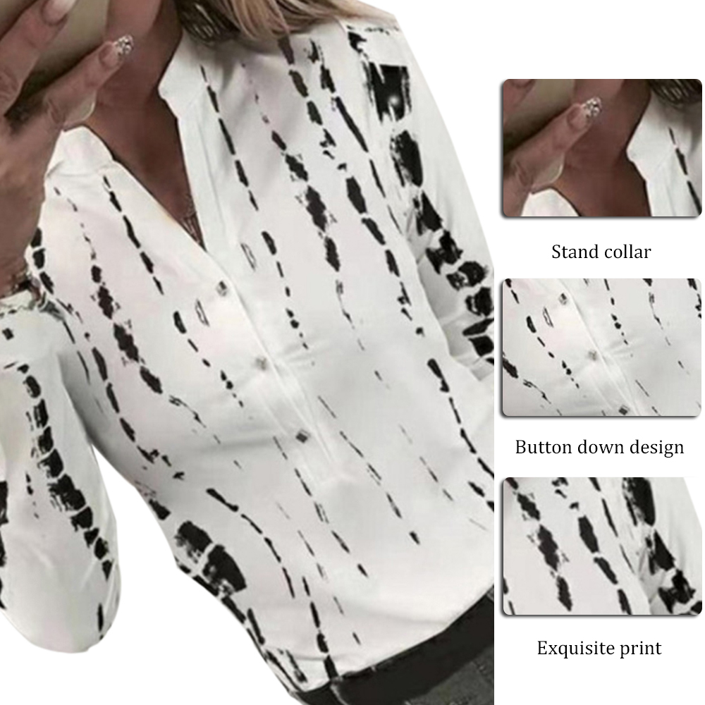2020 New Women Spring Casual Blouse Newest Ladies Printed Long Sleeve Shirt Hot Sale V-neck Loose Tops Blusa Feminina