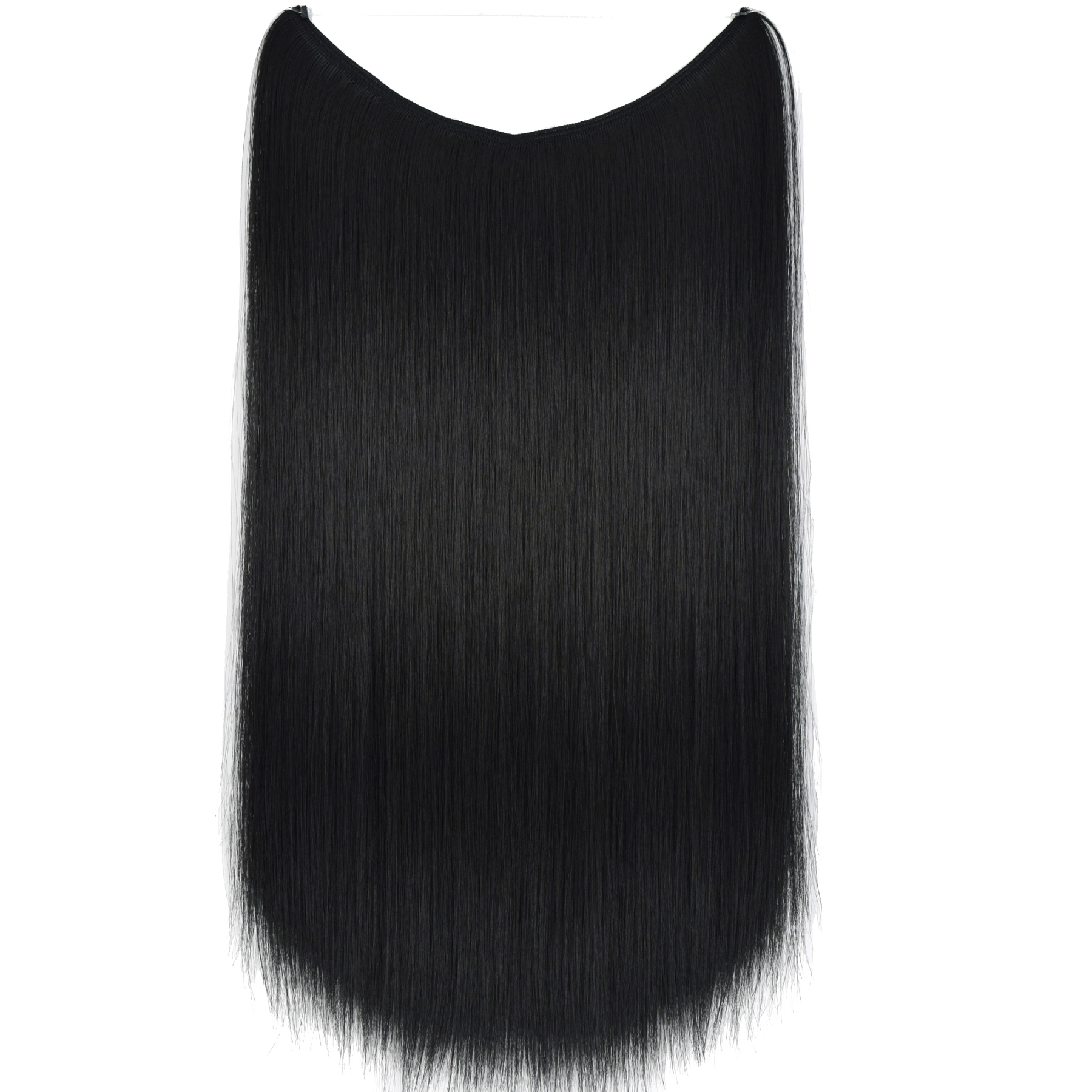 TOPREETY Heat Resistant B5 Synthetic Hair Straight Elasticity Invisible Wire Halo Hair Extensions 8106