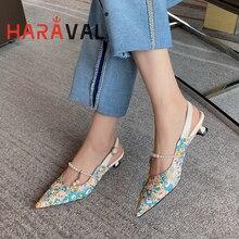 HARAVAL donna pompe tacchi bassi scarpe moda Sexy base punta a punta floreale punta a punta partito fibbia cinturino calzature fatte a mano B81