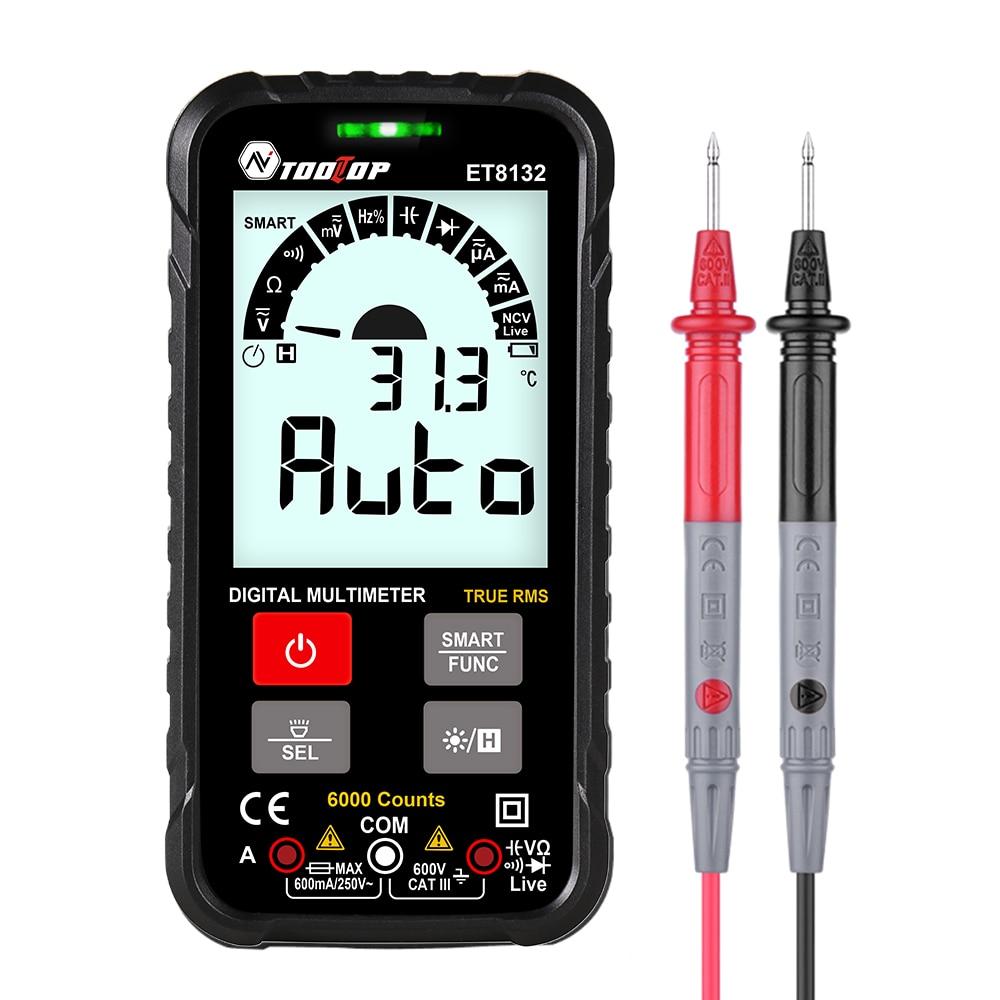 6000 Intelligent tenu dans la main compte TRMS multimètre numérique affichage LCD voltmètre ca/cc ampèremètre ohmmètre Test avec Flash lumière