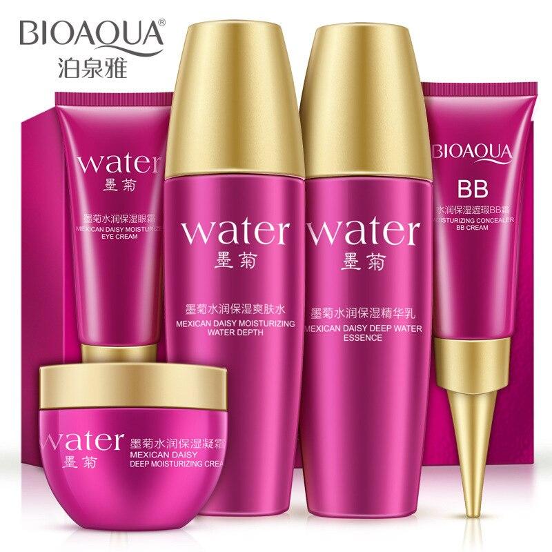 BIOAQUA 5pcs Skin Care Set Black Chrysanthemum Essence Serum Anti Aging Moisturizing Toner+Eye Cream+Lotion+Day Cream+BB Cream