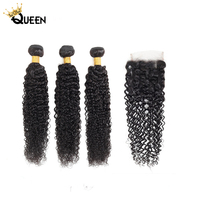 Curly Bundles With Closure 4x4 5x5 6x6 Closure With 30 Inch Bundles Malaysian Hair Weaves Bundles Remy Human Hair Extensions
