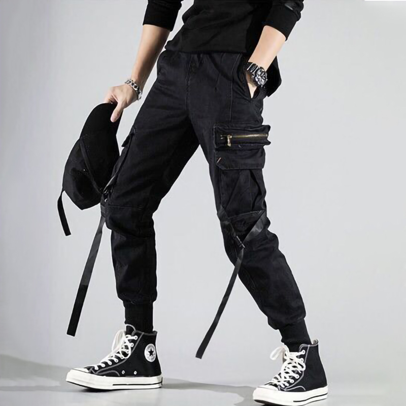 Streetwear Black Cargo Pants Men Fashion Joggers Sweatpants Japanese Loose Casual Ankle Length Trousers