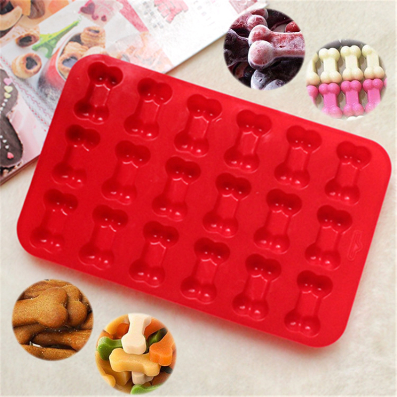 Kitchen Baking Accessories 18 Cavity Dog Bone Shaped Silicone Biscuits Cookies Cake Mold Puppy Bones Ice Cube Chocolate Mould