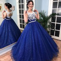 Sparkly Royal Blue Ball Gown Lace Quinceanera Dresses Vestido 15 Years Dress Round Neck Open Back Girls Sweet 16 Formal Gowns
