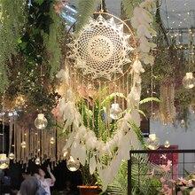 Atrapasueños de plumas hechos a mano, anillo de Metal redondo grande de 40cm, decoraciones de exteriores para bodas, dormitorio, decoración del hogar MS0071