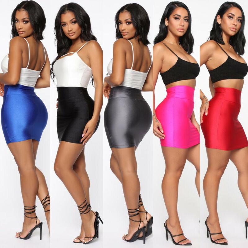 Casual Pencil Bodycon Skirts Women Sexy Slim High Waist Hip Hop Short Mini Skirt