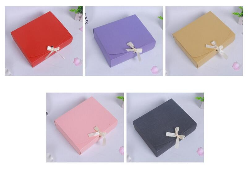 24.5x20x7cm Large Pink red purple paper gift box with ribbon wedding favor birthday party gift packaging paper box big size - 3