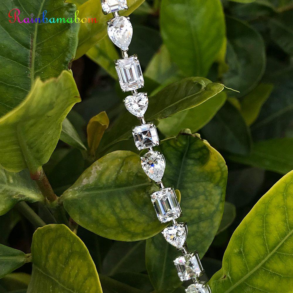 Rainbamabom 925 Solid Sterling Silver Created Moissanite Gemstone Bangle Charm Wedding Diamonds Bracelet Fine Jewelry Wholesale