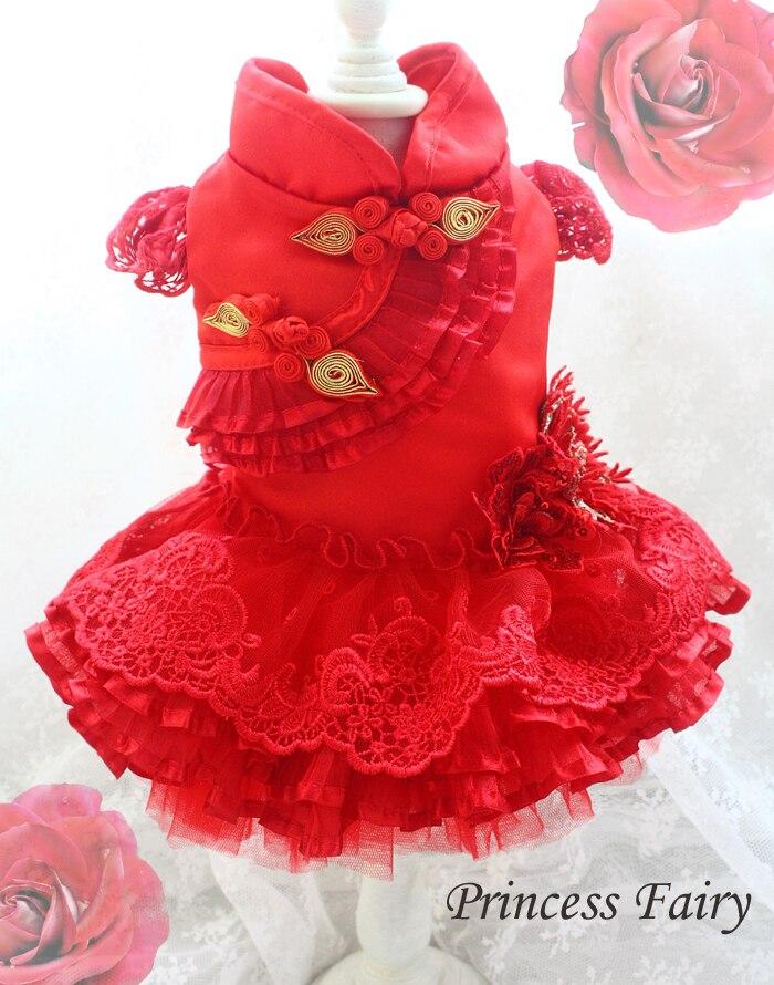 Livraison gratuite à la main incroyable rouge chien robes grenouille dorée dentelle couche après couche bouffant fil pet vêtements robe de soirée luxueux chats vêtements