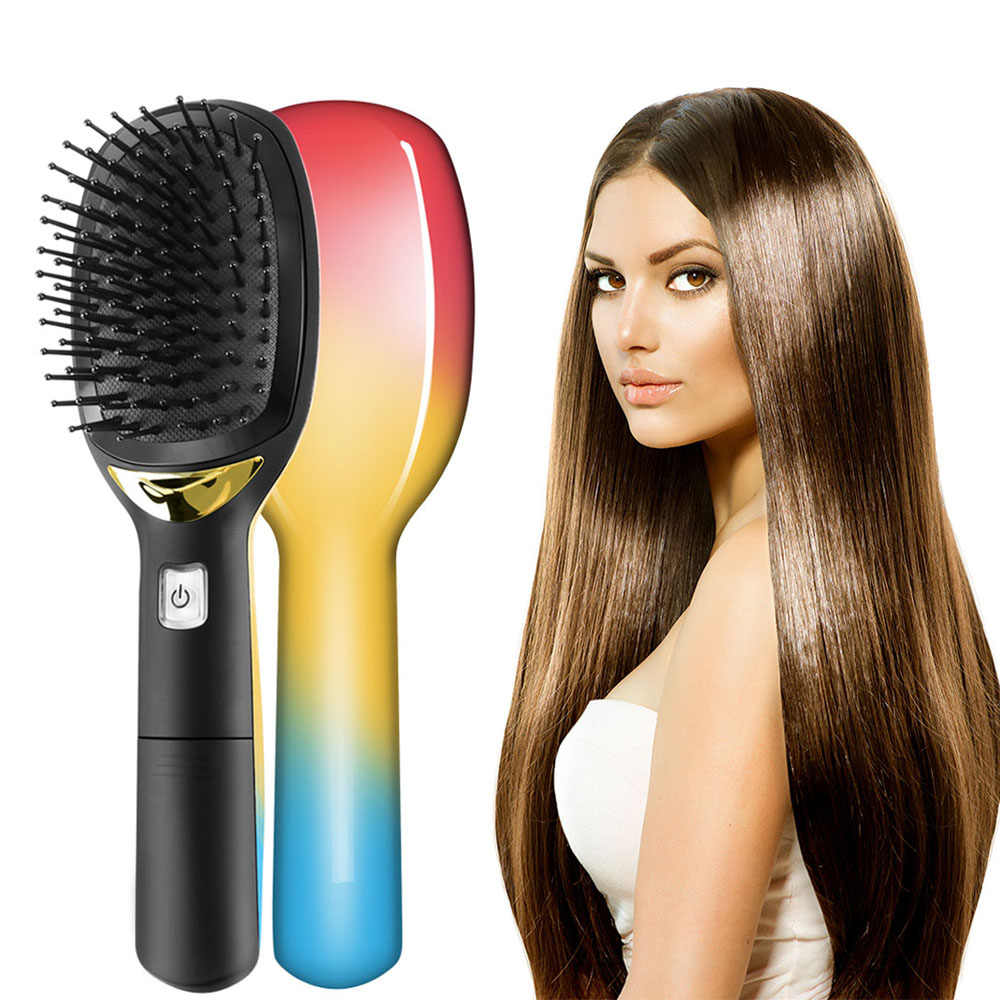 電気イオンヘアブラシとくしポータブルマイナスイオンヘアモデリングスタイリング櫛帯電防止マジックヘアブラシ