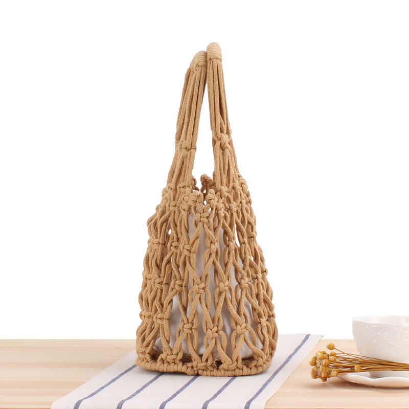 אופנה קיץ Weave קש שקיות לנשים חדש רטרו מגזרת מוצק צבע חוף תיק תיק נשים נשי בעבודת יד דלי שקיות