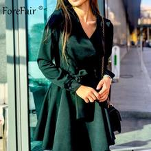 Forefair Casual Sashes Tied Wrap Dress Women Spring Long Sleeve Mini Tunic Solid Green Yellow Office Chiffon Shirt Sexy Dress(China)