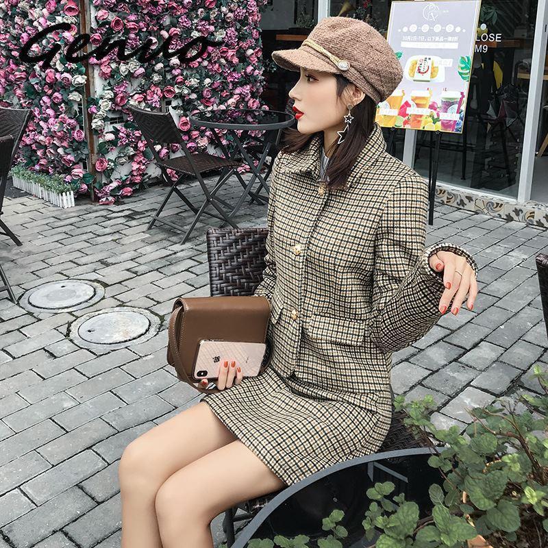 Genuo New Autumn Winter Hepburn Style Skirt Suit Korean Fashion Blazer Suit Skirt Women 2019 New Plaid Wool Two Piece Set