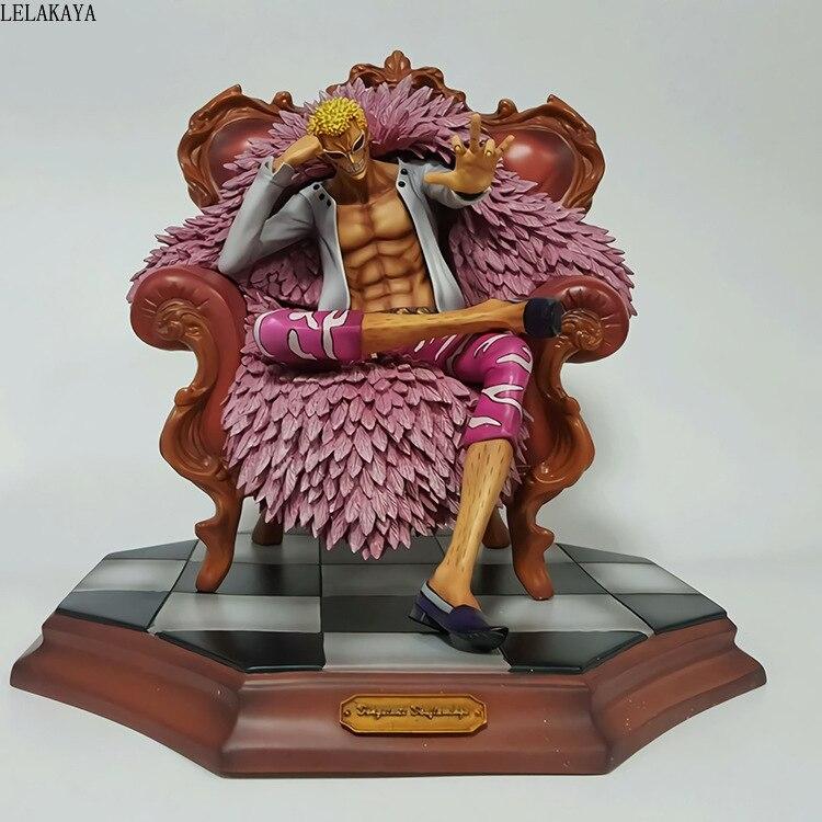 Japanese Anime One Piece GK Donquixote Doflamingo With Sofa Sitting Ver. PVC Action Figure Collectible Model Toys Doll LELAKAYA