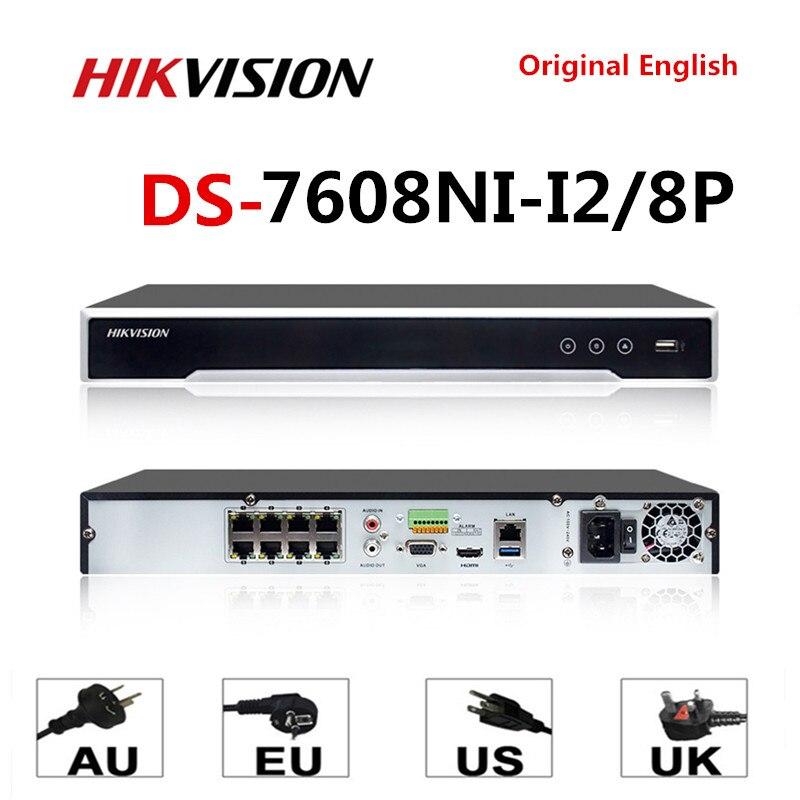 Hikvision Original 4K NVR DS-7608NI-I2/8 P 8CH 8 POE NVR pour caméra POE 12MP Max 2 SATA enregistreur vidéo réseau