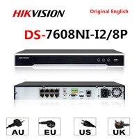 Hikvision Original 4K NVR DS 7608NI I2/8P 8CH 8 POE NVR for POE Camera 12MP Max 2 SATA Network Video Recorder