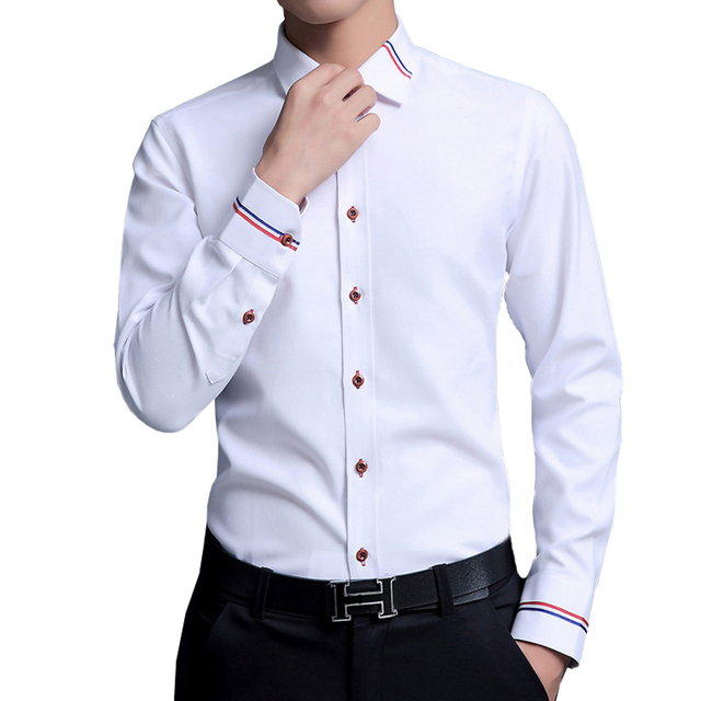 Casual Social Formal Business Slim Office Shirts white 4XL 5XL 4