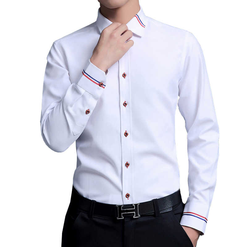 קריא מזדמן חברתית חולצת גברים ארוך שרוול חולצה עסקי Slim משרד חולצה זכר כותנה חולצות גברים לבן 4XL 5XL