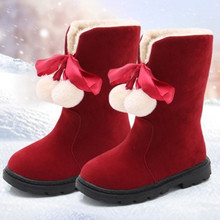Red Winter Girls Snow Boots princess Boots Warm Plus velvet Children boots Kids Boots For Christmas New Years Shoes 4 5 6 7-16T