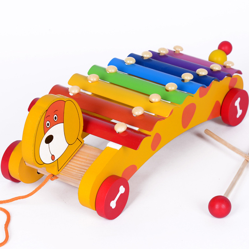 Wood Stubborn Babe Puppy Octave Trailer Toy Piano LCM02 Wooden Children Music Early Childhood Toy 0.55
