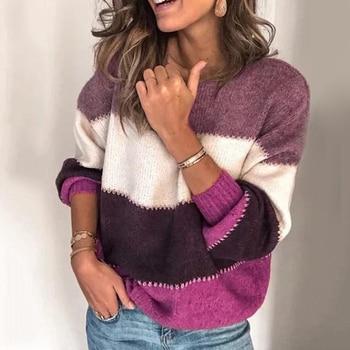 Fashion Women Long Sleeve Striped Sweater Autumn Winter O Neck Sweaters Ladies Loose Knitted Pullovers Knitwear Plus Size long cardigan women sweater autumn winter bat sleeve knitted sweater plus size jacket loose ladies sweaters coat plus size