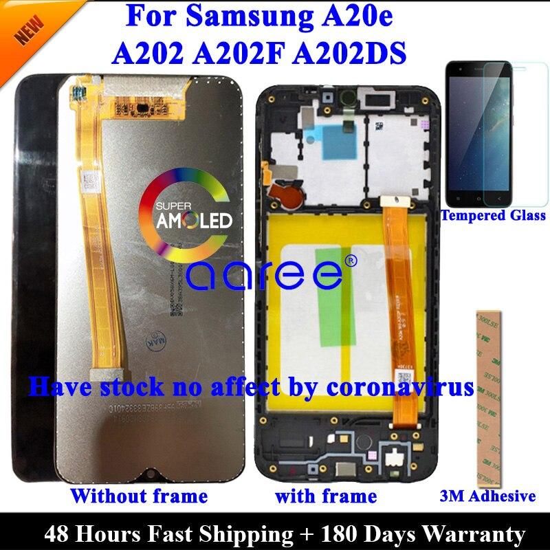 Pantalla LCD para Samsung A20e LCD A202, pantalla lcd para Samsung A202 A202F A202DS, montaje de digitalizador táctil de pantalla LCD