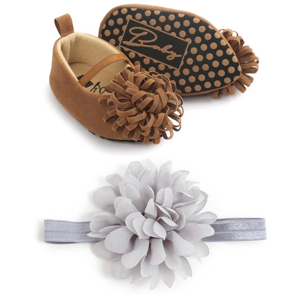 Newborn Baby Girls Shoes With Hairband Soft Bottom Anti-slip Shoes Footwear Classic Princess Girl Crib Big Flower Shoes
