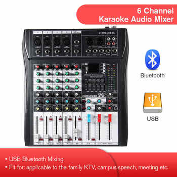 LEORY 6 Channel Karaoke Audio Mixer With USB 48V Phantom Power bluetooth Professional Microphone Sound Mixing Amplifier Console - DISCOUNT ITEM  53% OFF All Category
