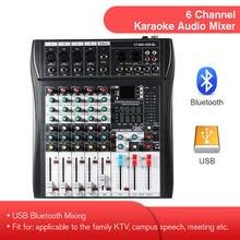 LEORY mezclador de Audio para Karaoke, 6 canales, con USB, 48V, Phantom Power, bluetooth, micrófono profesional, consola amplificadora de mezcla de sonido