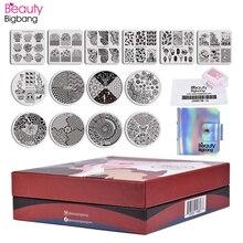 BeautyBigBang 17Pcs/Set Flower Geometric Animal Nail Stamping Plate 14 Round Square Polish Plates Stamper With Scraper