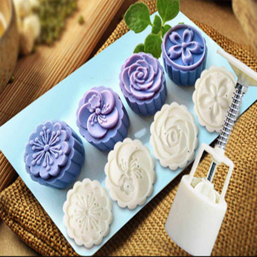 Hot Sale 4 Gaya Kue Bulan Cetakan Bunga Pertengahan Musim Gugur Tangan Tekan Kue Bulan Cutter Cetakan Set
